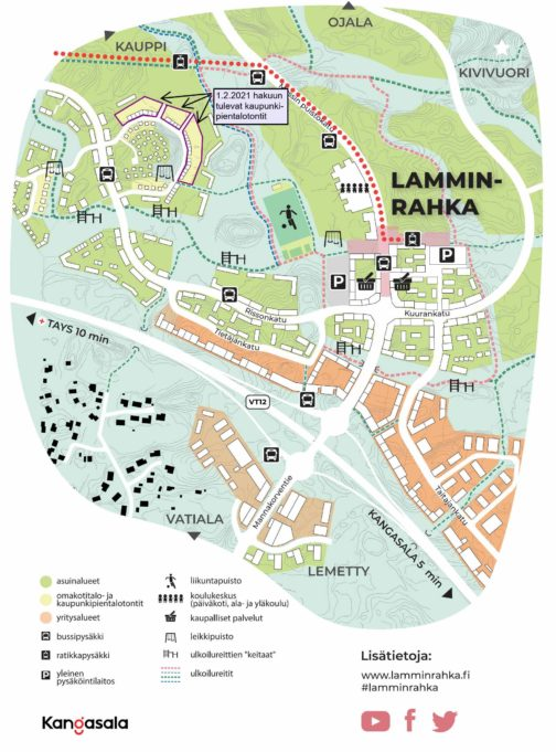 Lamminrahkan kaupunkipientalotonttien opaskartta