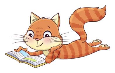 Kirjatti-kissa makoilee ja lukee kirjaa.
