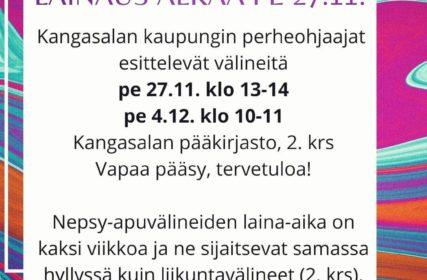 Nepsy-apuvälineiden lainaus alkaa pe 27.11.