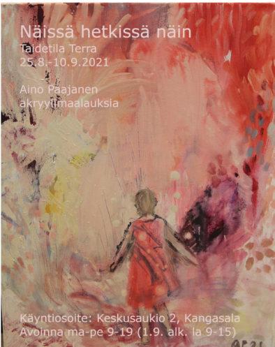 Abstrakti punasävyinen maalaus, jossa ihmishahmo