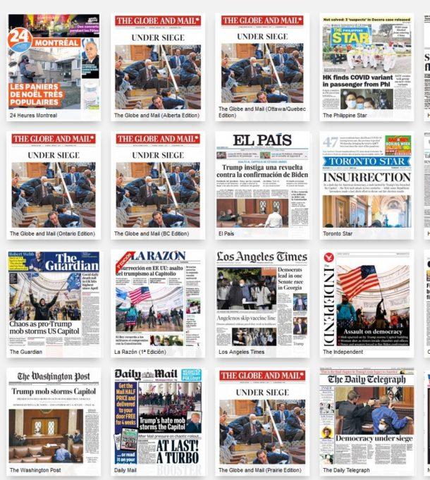PressReader-palvelussa mukana olevien vieraskielisten sanomalehtien etusivuja