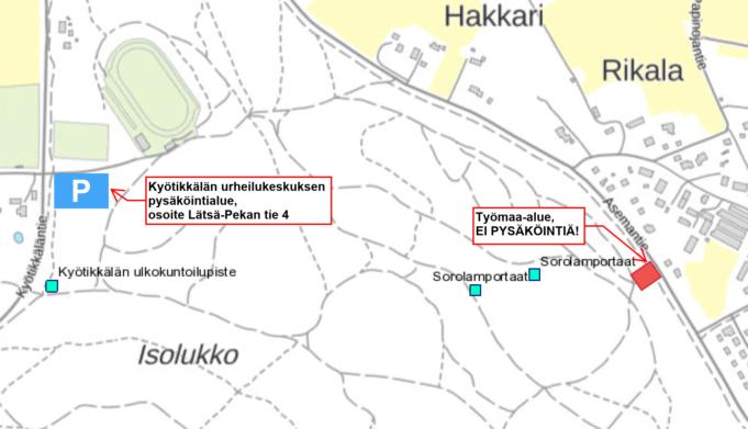 Kartta Sorolan montun pysäköintialueen rakentamisesta