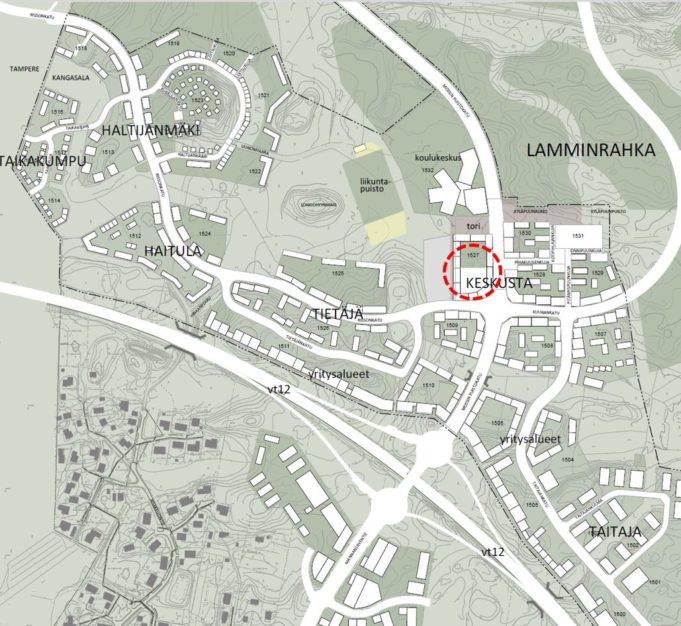 Karttakuva Lamminrahkan keskusta-alueesta, johon on merkitty kaupan sijainti