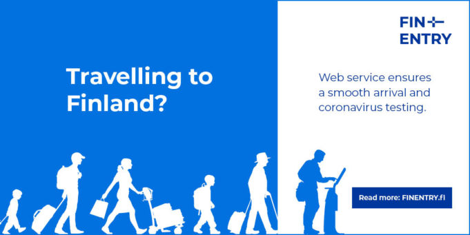 Banner that includes a link to the Covid-19 instructions about travelling to Finland