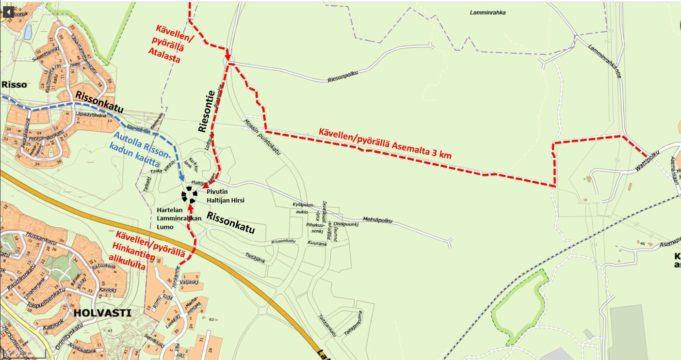 Kartta, johon on merkitty Lamminrahka-kierroksen lähtöpaikka ja punaisella katkoviivalla reitit, joita pitkin lähtöpaikalle pääsee.