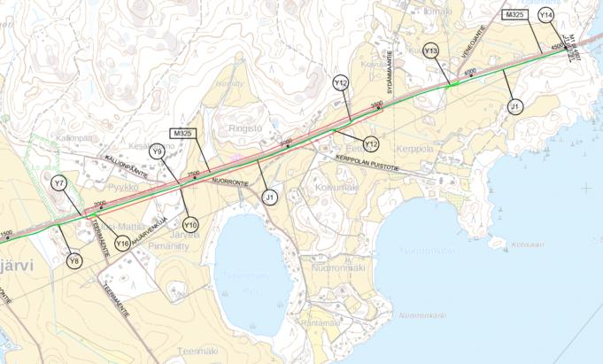 Kartta Sajalahdentien kevyen liikenteen väytlän rakentamisen urakka-alueesta
