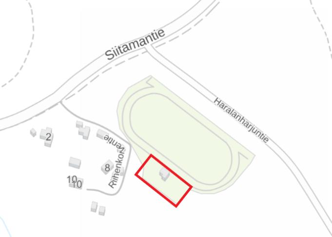 Suinulan urheilukentän pysäköintialueen työmaa-alueen sijainti kartalla